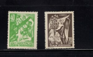 Timor 1950 Holy Year Angel Candle Church Bells MNH Sc 258-259