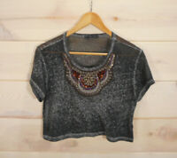 Truly Madly Deeply Women's Sz S Shirt Festival Crop Top Burnout Tee Beaded Gray
