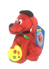 """Scholastic CLIFFORD THE BIG RED DOG AS ARTIST 5"""" Bean Bag STUFFED ANIMAL Toy NEW"""