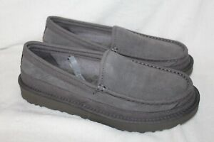 NIB UGG Australia Dex Suede Shearling Slippers Charcoal Gray