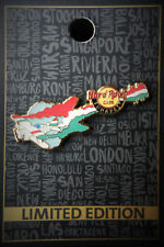 Hard Rock Cafe Budapest Airport Rock Shop Hungary Airplane Flag Guitar Pin 2017