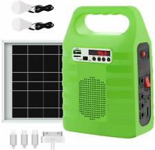 Solar Power Panel Generator Energy Storage USB Charger System Kit + 2 LED Bulb