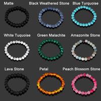 Natural Stone Bead Bracelet Turquoise Bangle Minimalist Round Gemstone Jewelry