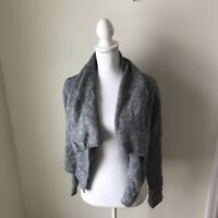 Vince Sweater Shrug Women's Size Small Gray Chunky Open Front Cable Knit
