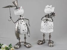 CHATS modernes Sculpture en céramique et métal blanc/argenté hauteur 35 cm