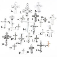 25Pc Mixed Ancient Silver Cross Shape Charm Pendant DIY Jewelry Making Accessory
