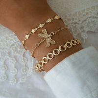 3Pcs/Set Fashion Women Charm Gold Dragonfly Pendant Bangle Bracelet Accessories