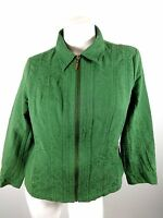 COLDWATER CREEK WOMENS GREEN COTTON BLED FULL FRONT ZIP JACKET SIZE PM CUTE!