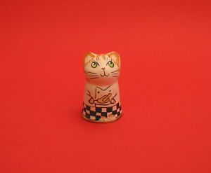 Chef Cat Hand Painted Pottery Thimble Highly Collectible Thimble CLEARANCE
