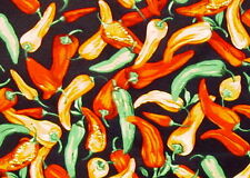 RED HOT CHILI PEPPER BLACK TEX MEXICAN SALSA SEW CRAFT DECOR FABRIC BY HALF YDS