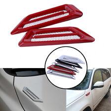 2xRed Car Decorative Air Flow Intake Scoop Bonnet Side Fender Vent Hood Universa