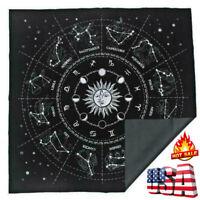 The Zodiac Tarot Cloth Decor Divination Cards Velveteen Square Tapestry Black US