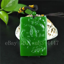 Chinese Green Jade Carp Lotus Pendant Necklace Charm Jewellery Fashion Amulet