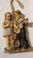 """Statua in ceramica """"ragazzi con cane"""" da appendere, no Lenci"""
