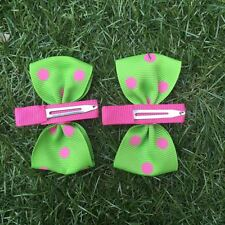 2x Baby Toddler Girl Hair Clips pairs packed BOWtique Alligator -Green Spots