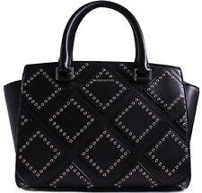 Michael Kors Purse Selma Diamond Grommet Satchel Bag Black Leather New $498