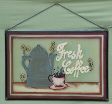 Vintage Baked-Paint, Painted Glass Coffee Sign Cafe' Shop Tea Rooms Home Decor