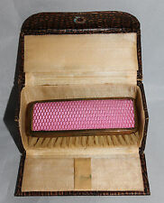 Vintage 1920s Celluloid Engineturned Clothes Brush in Snakeskin Case