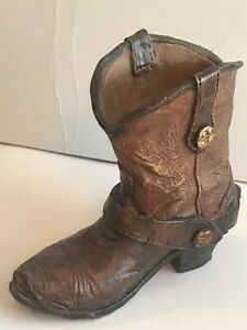 """Cowboy Boot, Brown, Rustic Western Small 4"""" Vase/Pencil Holder"""