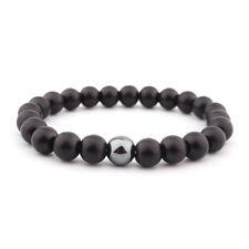 Mens Black Onyx Matte Yoga Energy Beaded Bracelet Boyfriend Gift for Him Jewelry