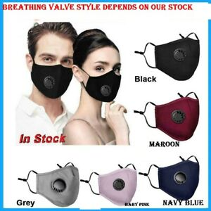4 LAYERS COTTON FACE MASK WITH FILTER AIR VALVE WASHABLE REUSABLE BREATHABLE UK
