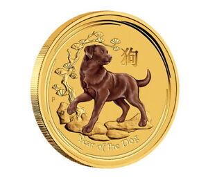 Australien Perth Mint Lunar II Jahr des Hund 2018 Farbe Dog 1/10 oz Goldmünze