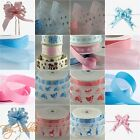 Baby Ribbon Cut Length Satin Organza Grosgrain Bow Boy Girl Blue Pink Teddy Feet
