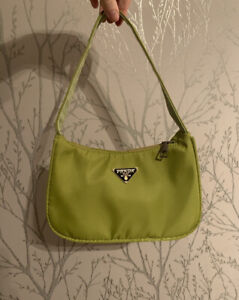 Cute Y2k Mini Shoulder Bag Green Nylon Baguette Vintage Style Hobo