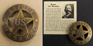 Deputy U.S. Marshal Badge, boxed, round, antiqued brass, old west, Bass Reeves
