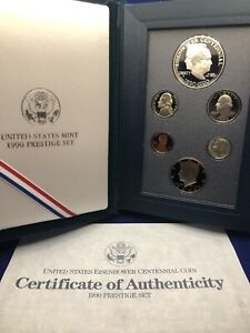 1990 Presige Proof Set Including Eisenhower Centennial Coin in OGP with COA