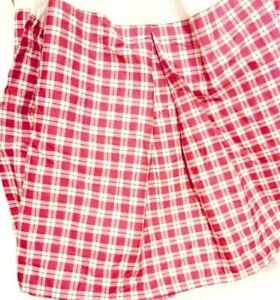 Ralph Lauren Bed Skirt Pink/Red Check - King Size - Dust Ruffle  Vintage Retired