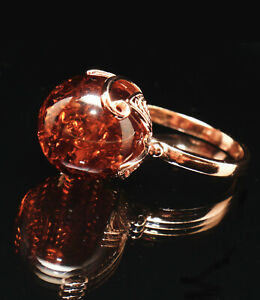 Real Baltic Amber Large 15mm Ball Rose Gold Filled Filigree Ring 7 N Russian