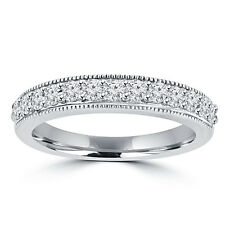 0.70 ct Ladies Round Cut Diamond Wedding Band Ring With Millgrain Edge