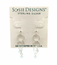 SOSIE DESIGNS Sterling Silver Aquamarine Gemstone Circle Dangle Hook Earrings