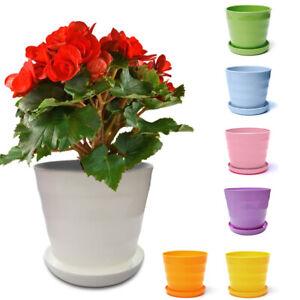 Plastic Resin Circle Screw Thread Flower Pot Succulent Plant Flowerpot w/ Tray