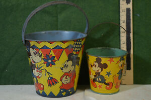 2 Micky Mouse sand pails, 30's-40's, Happynak, made in England