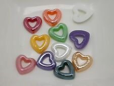 200 Mixed Color AB Heart Donut Flatback Glass Ceramic Cabochon 10mm Half Pearl