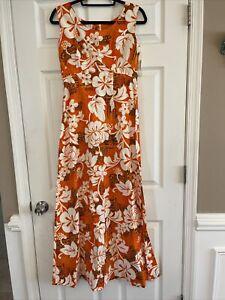 Vintage 1970\u2019s Orange Hawaiian Maxi Dress with Flared Short Sleeves