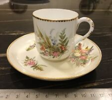Antique Worcester Porcelain Coffee Cup And Saucer Hand Painted Floral Pattern