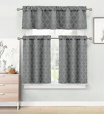 Trellis Chic Textured Kitchen Curtain Tier & Valance Set - Assorted Colors