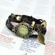 Armbanduhr Damenuhr Armkette Armband Holzperlen Schwarz Blätter Damenarmbanduhr