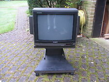 SONY Trinitron (old style) TV, remote control, Manual, stand on wheels -spares.