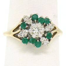 Petite 14k White & Yellow Gold 0.80ctw Round Diamond Emerald Cluster Dinner Ring