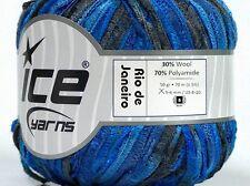 Rio de Janeiro Ribbon Yarn #45754 Black & Blues Soft Wool, Nylon Ice 50gr 76yds