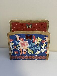 New The Pioneer Woman Acacia Wood Napkin Holder Vintage Floral