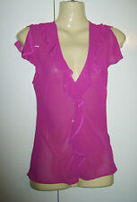 LADIES FUCHSIA PINK SHEER SUMMER TOP BLOUSE FROM WALLIS SIZE 8 PETITE USED