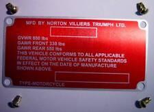 1975-77 Norton Commando 850 Mark III, OEM, Frame ID Tag & Drive Screws 06-6213