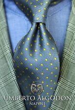 Umberto Algodon Napoli Sette Men's Tie Gray Bright Yellow Dot Woven Necktie