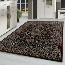 short-Pile Living Room Carpet Oriental Rug Pattern Classic With Border Red