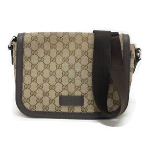 GUCCI 449172 GG pattern Messenger Shoulder Bag GGCanvas/Leather Beige